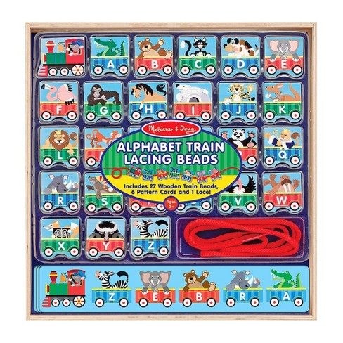 Melissa & Doug Alphabet Train Lacing Beads - 27 Wooden Train Beads, 6 Pattern Cards, and 1 Lace - image 1 of 4