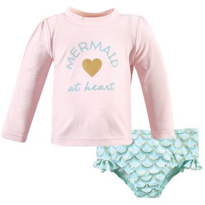 Hudson Baby Infant Girl Swim Rashguard Set, Mermaid At Heart