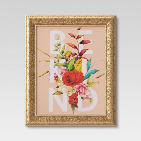 """16""""x20"""" Be Kind Flowers Framed Wall Canvas  - Opalhouse™ - image 1 of 4"""