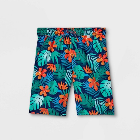 Boys' Floral Swim Trunks - Cat & Jack™ Green - image 1 of 2