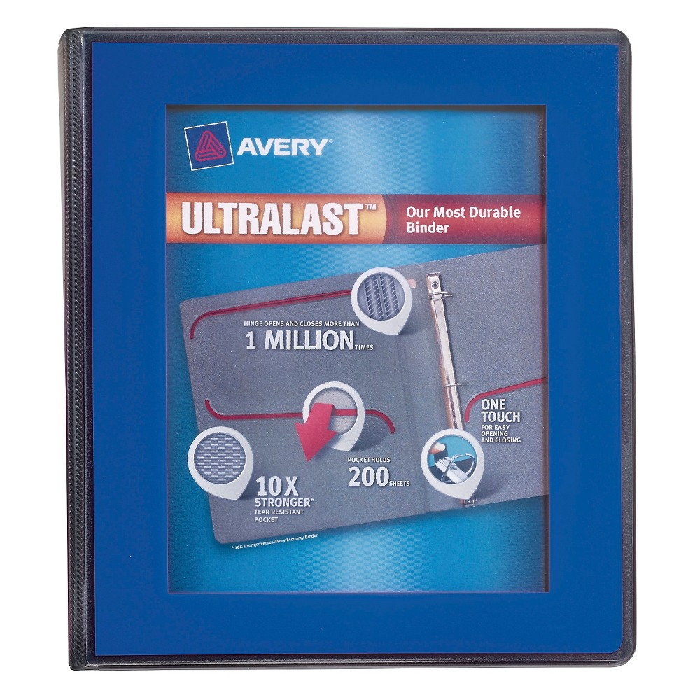 "Image of ""Avery 1"""" Clear View 3 Ring Binder with One Touch Slant Ring Blue"""
