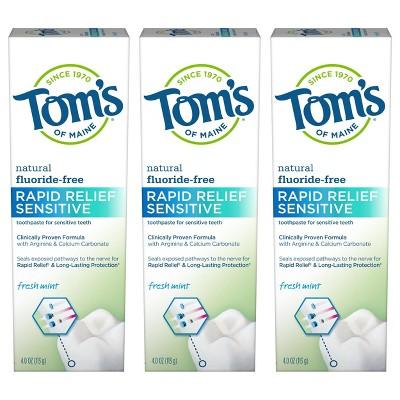 Tom's of Maine Rapid Relief Sensitive Fluoride-Free Toothpaste Fresh Mint 4.0oz/3pk