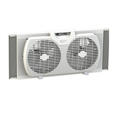 Comfort Zone CZ319WT 9 inch Portable Twin Window Fan with Reversible Airflow Control, White