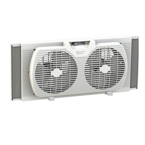 Comfort Zone CZ319WT 9 inch Portable Twin Window Fan with Reversible Airflow Control, White - image 1 of 4
