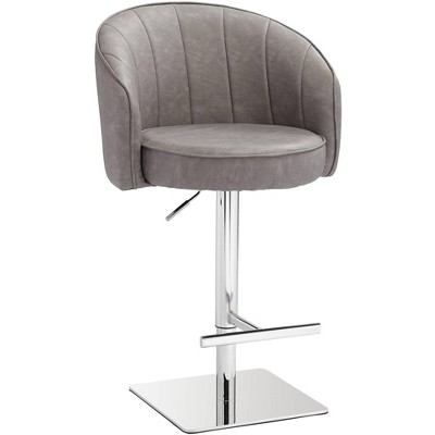 Studio 55D Chase Gray Faux Leather Swivel Adjustable Bar Stool