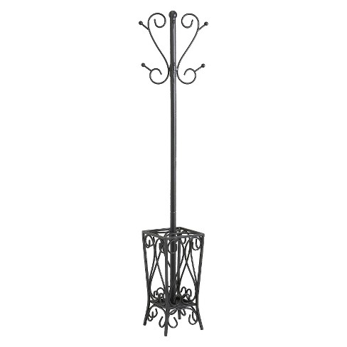 Scrolled Coat Rack And Umbrella Stand Black Aiden Lane