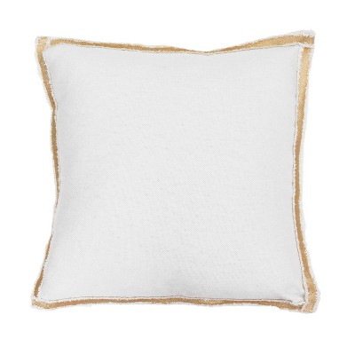 "2pk 19""x19"" Andi Faux Linen Metallic Flange Square Throw Pillows - Décor Therapy"