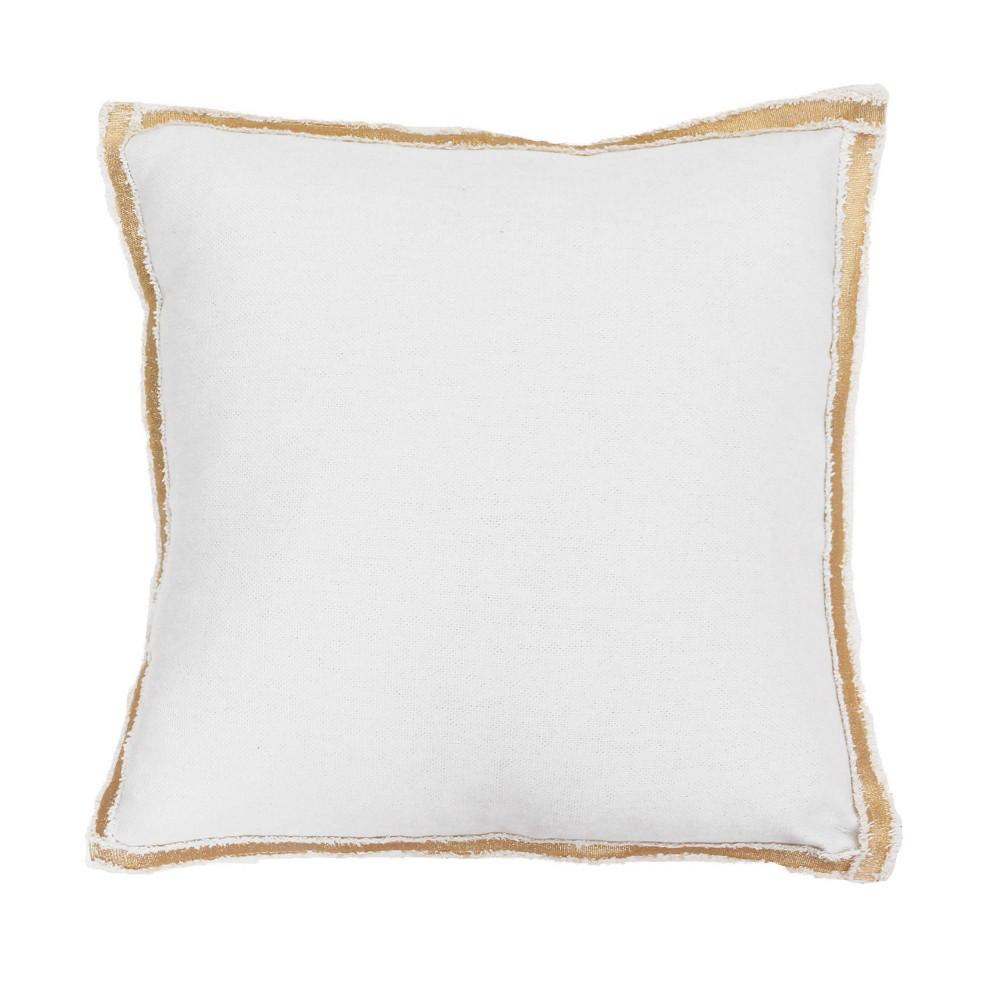 2pk 19 34 X19 34 Andi Faux Linen Metallic Flange Square Throw Pillows White D 233 Cor Therapy