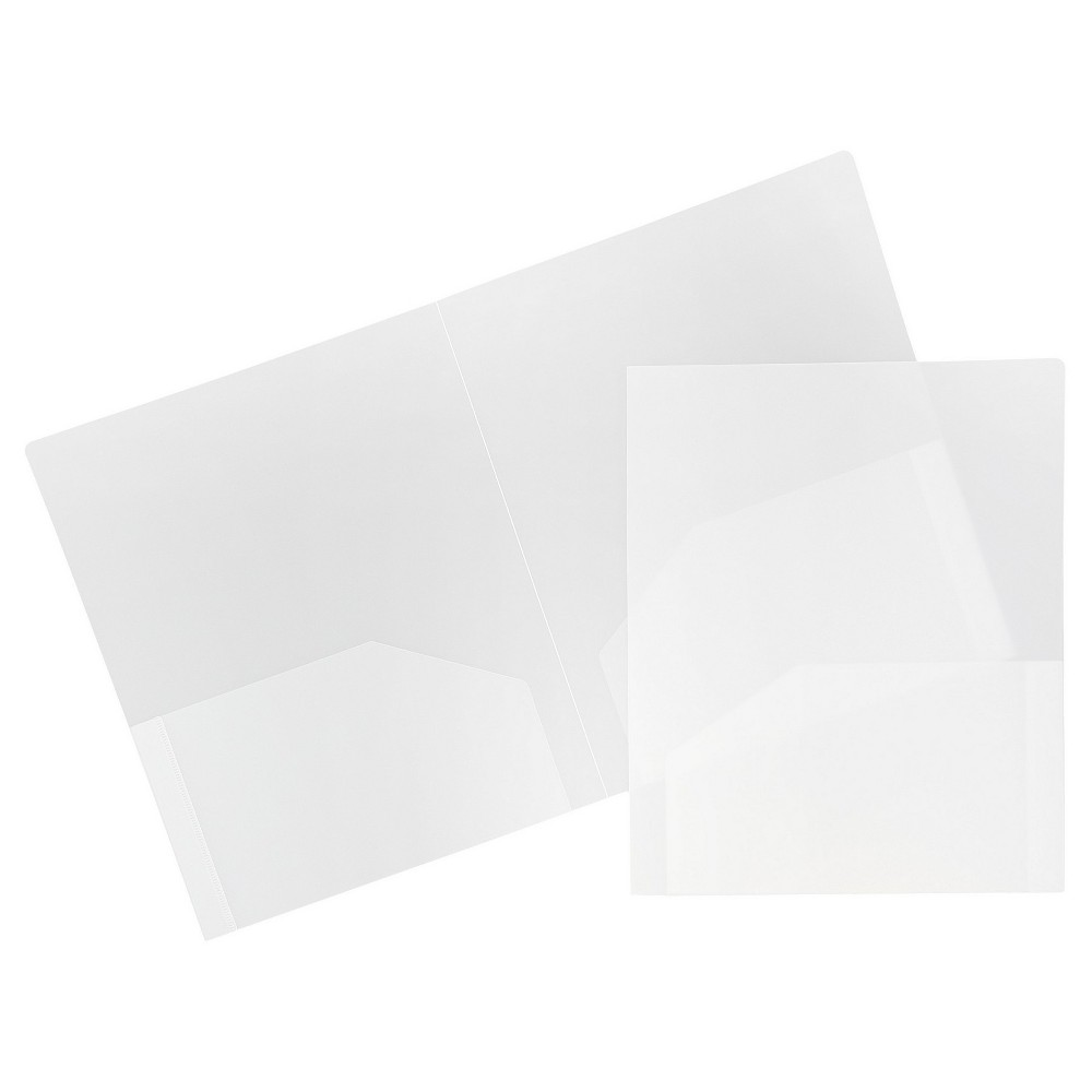Image of 6pk 2 Pocket Heavy Duty Plastic Folder Clear - JAM Paper