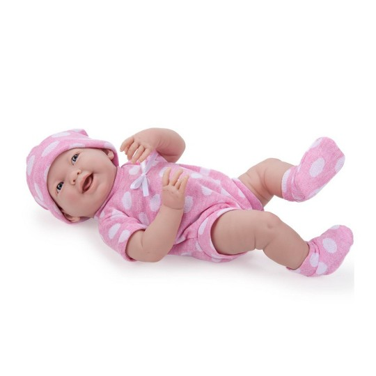 """JC Toys La Newborn 15"""" Newborn Girl Doll - Pink Polka Dot Outfit image number null"""