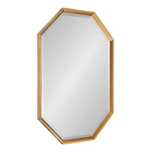 """38"""" x 26"""" Calter Elongated Octagon Wall Mirror Gold - Kate and Laurel - image 1 of 4"""