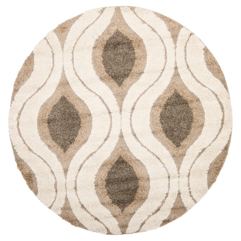 Cream/Smoke Abstract Tufted Round Accent Rug - (4' Round) - Safavieh, Gray Off-White