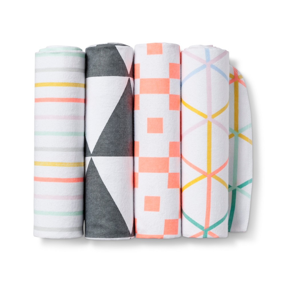 Image of Flannel Baby Blankets GeoBright Blush 4pk - Cloud Island , White Orange Multicolored