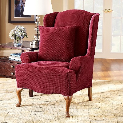 Garnet Stretch Pique Wingchair Slipcover - Sure Fit, Red