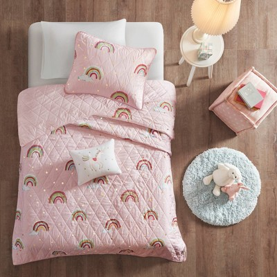 Natalie Rainbow with Metallic Printed Stars Reversible Coverlet Set Pink