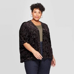 Women's Velvet Kimono - A New Day™ Black