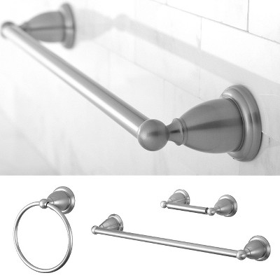 Traditional Solid Brass Satin Nickel 3-piece Towel Bar Bath Accessory Set - Kingston Brass