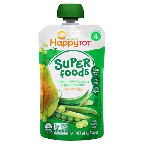 Happy Tot Green Bean, Pear & Pea Organic Superfoods - 4.22oz - image 1 of 4