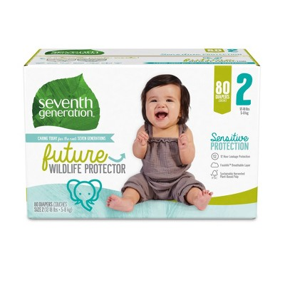 Seventh Generation Sensitive Protection Diapers Super Pack - Size 2 - 80ct