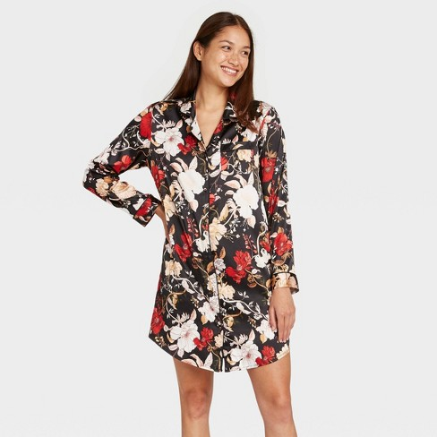 Women's Floral Print Satin Notch Collar Nightgown - Stars Above™ Black - image 1 of 2