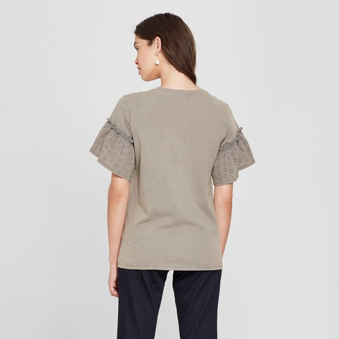 3aaac795 Women's Short Sleeve Detail Mineral Wash Top - Grayson Threads (Juniors')  Charcoal : Target