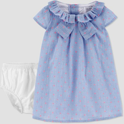 Baby Girls' Chambray Dot Dress - Just One You® made by carter's Blue 3M