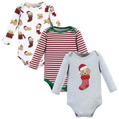 Hudson Baby Unisex Baby Cotton Long-Sleeve Bodysuits, Christmas Dog