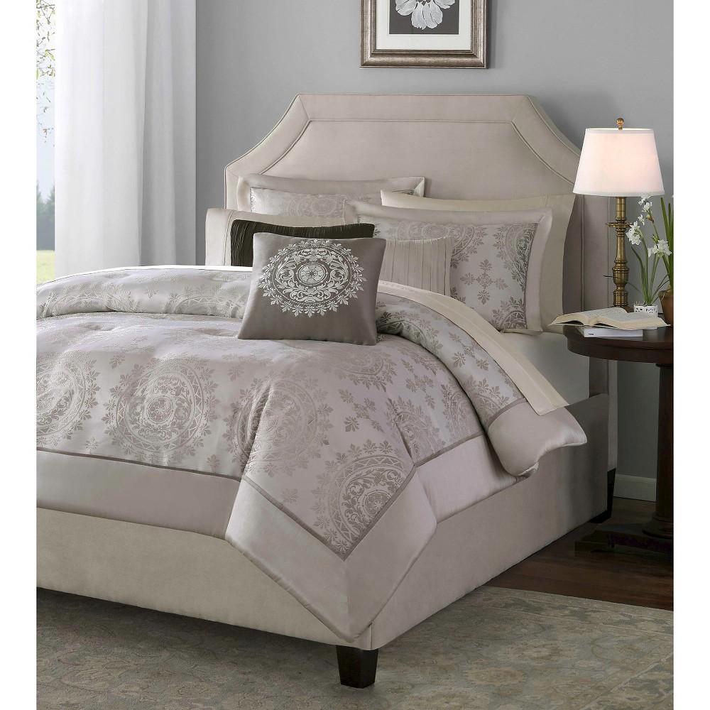 12pc King Madeline Jacquard Comforter Set Tan