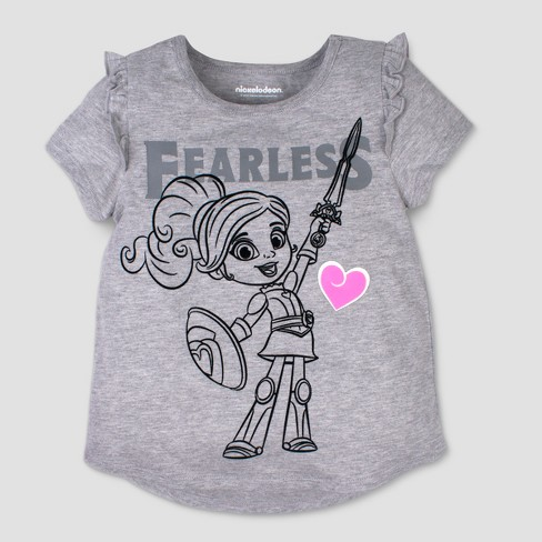 Toddler Girls' Nickelodeon Nella the Princess Knight Fearless Short Sleeve T-Shirt - Gray - image 1 of 2