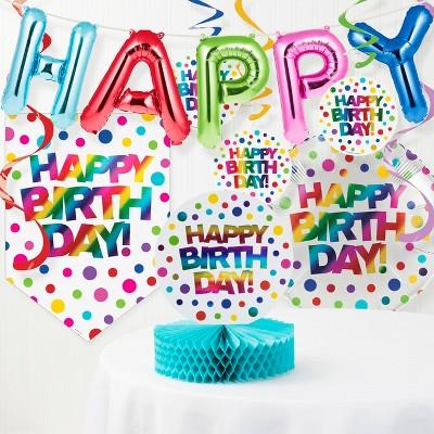 Rainbow Foil Birthday Party Decorations Kit