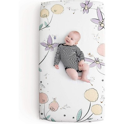 JumpOff Jo Fitted Crib Sheet - Cotton Crib Sheet for Standard Sized Crib Mattresses - Hypoallergenic and Breathable - 28 x 52 Inches - Fairy Blossoms