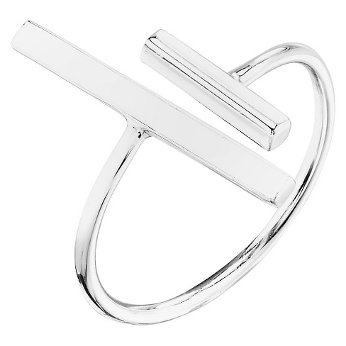 Women's Sterling Silver Polish Double Bar Ring - Silver - image 1 of 1