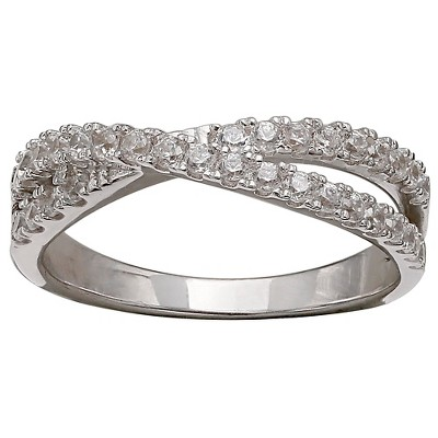 Women's Double Crossover Cubic Zirconia Ring in Sterling Silver - Silver/Clear