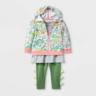 Baby Girls' 3pc Dino Hoodie Top & Bottom Set - Cat & Jack™ Green/Gray 6-9M