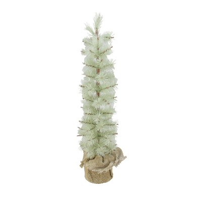 Arett Sales 2' Unlit Artificial Christmas Tree Silent Luxury Frosted Green Pine with Burlap Base