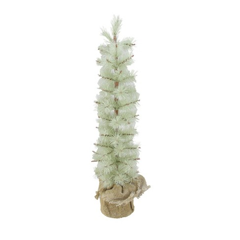 Arett Sales 2' Unlit Artificial Christmas Tree Silent Luxury Frosted Green Pine with Burlap Base - image 1 of 1