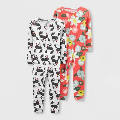 Toddler Girls' 2pk Footless Panda Floral Pajama Jumpsuit - Just One You® made by carter's White/Pink