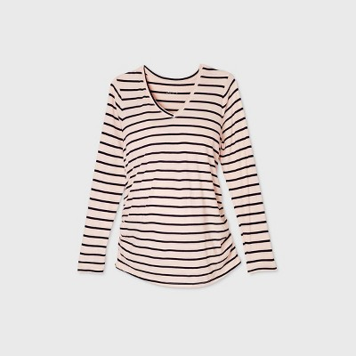 Maternity Striped Long Sleeve V-Neck Side Shirred T-Shirt - Isabel Maternity by Ingrid & Isabel™ Light Pink/Navy XXL