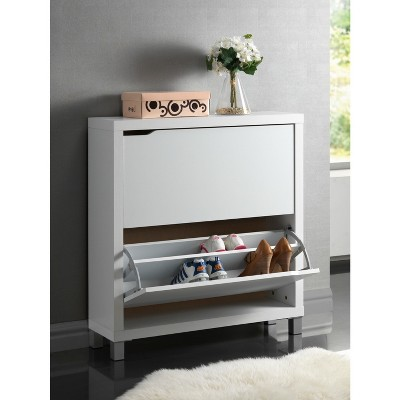 Simms Modern Shoe Cabinet White - Baxton Studio