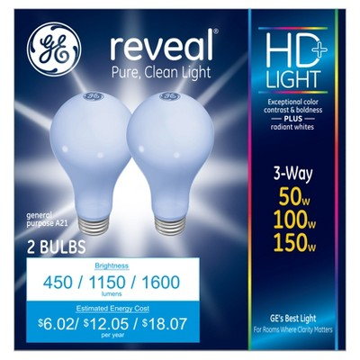General Electric 50/100/150w Reveal 3 Way Incandescent Light Bulb