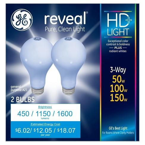 Ge Reveal 50 100 150 Watt 3 Way Incandescent Light Bulb