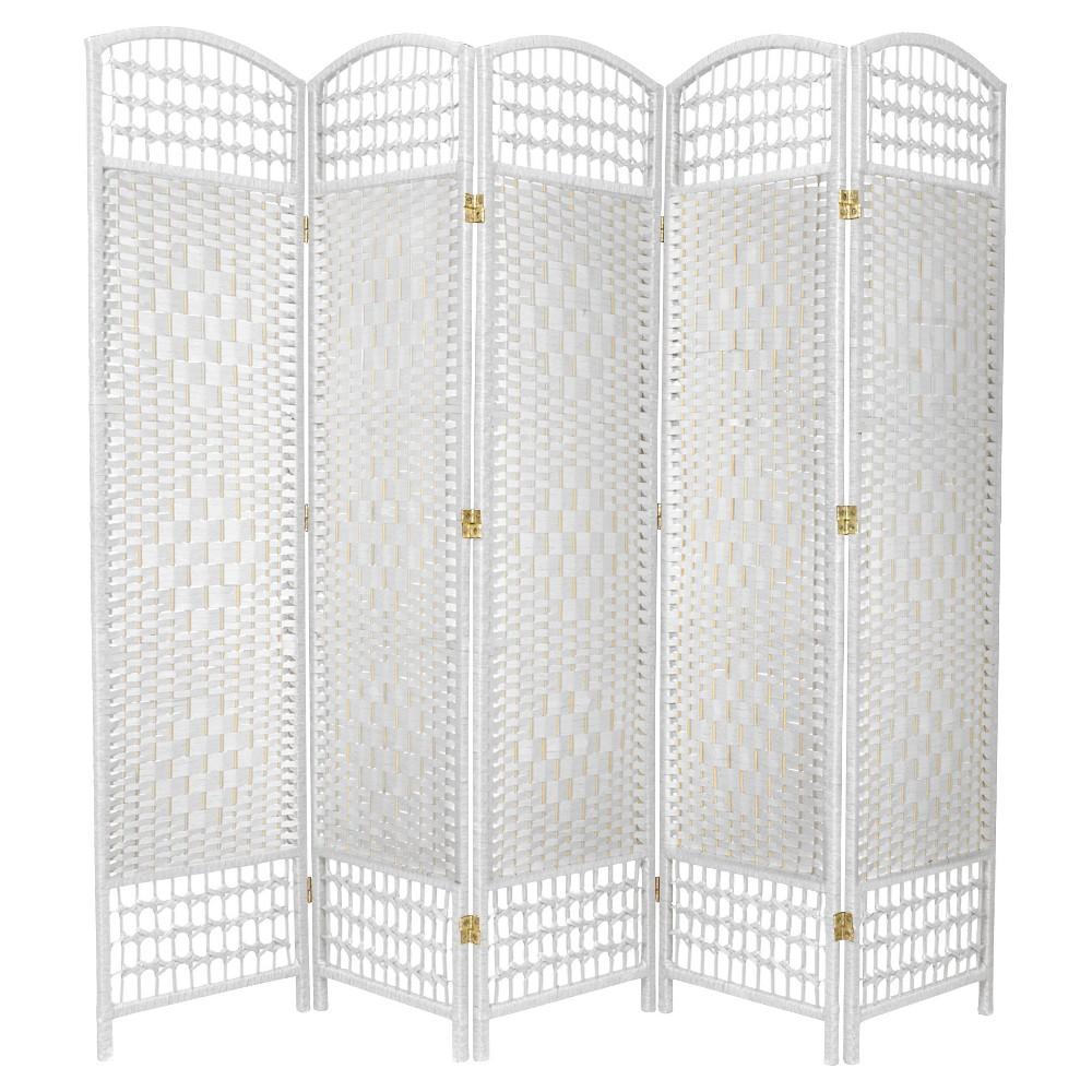 5 1/2 ft. Tall Fiber Weave Room Divider - White (5 Panel)