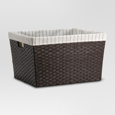 Lined Laundry Basket - Dark Brown Weave - Threshold™