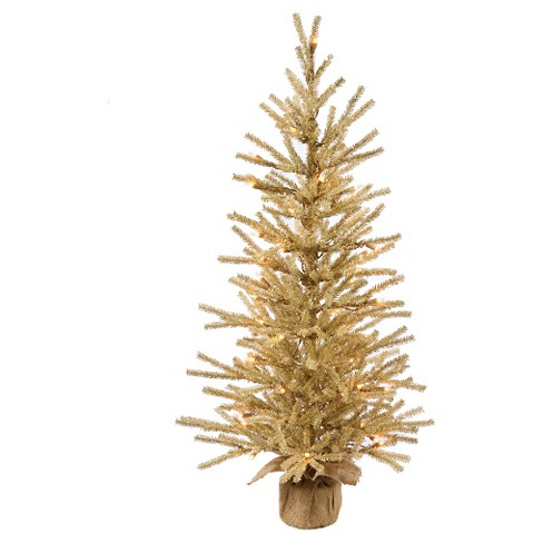 2.5ft Champagne Artificial Christmas Tree in Burlap Base with Clear Lights - image 1 of 1