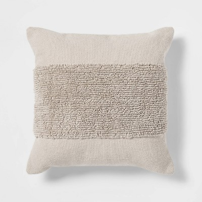 "18""x18"" Modern Tufted Square Throw Pillow Neutral - Project 62™"