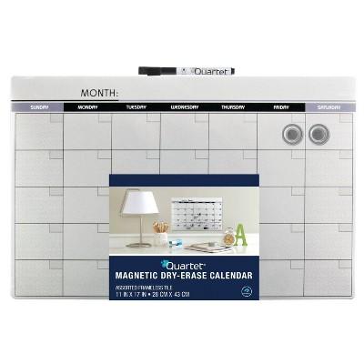 "Quartet 11"" x 17"" Frameless Magnetic Dry Erase Calendar Board"