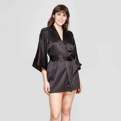Women's Robe With Lace Detail   Auden Black by Auden Black