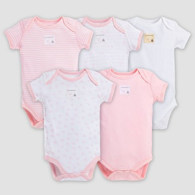 Burt's Bees Baby® Girls' Organic Cotton 5pk Bodysuit Set - Blossom 0-3M