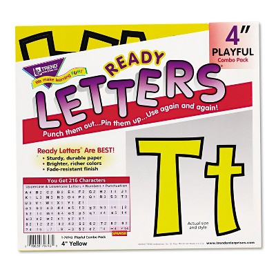 "Trend Ready Letters Playful Combo Set Yellow 4""h 216/Set T79743"