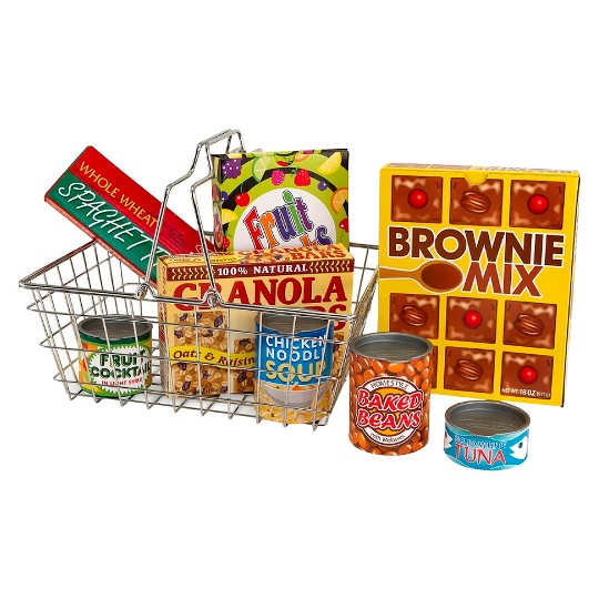 Melissa & Doug Grocery Basket - Pretend Play Toy With Heavy Gauge Steel Construction image number null